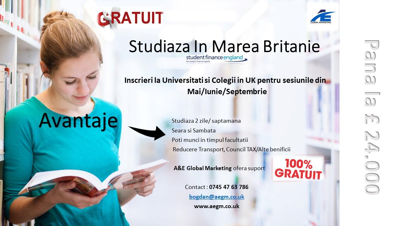 STUDII FINANTATE IN MAREA BRITANIE