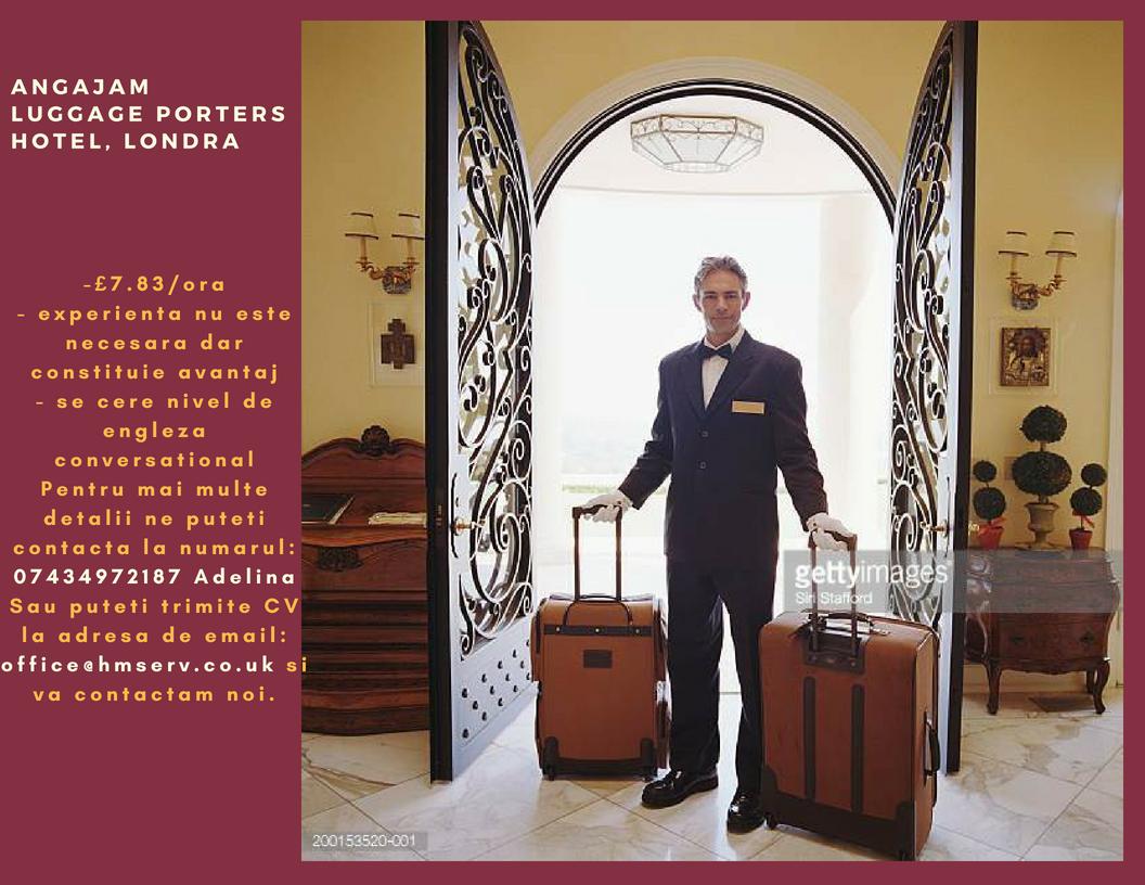 Angajam luggage porter- hotel, Londra