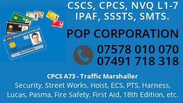CSCS, CPCS, A73, SSSTS, SMSTS, NVQ 1-7, STREET WORKS, IPAF, CCDO