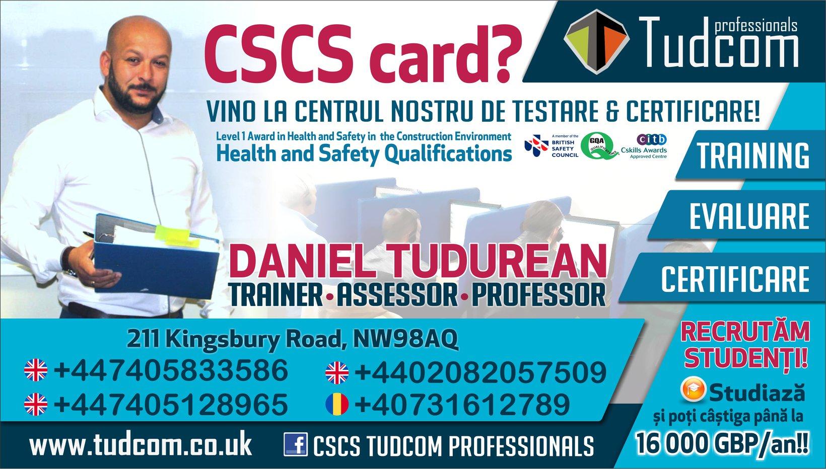 Card CSCS Calificari Constructii NVQ TUDCOM Centru Romanesc