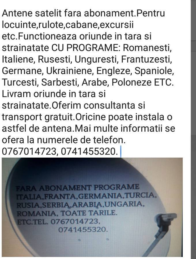 Antene tv si radio fara abonament- 0767014723
